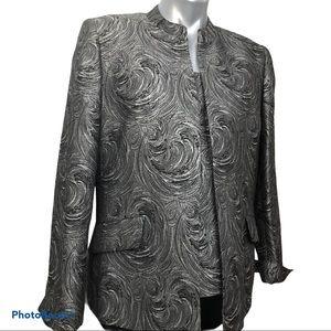 Nipon 2-piece, gray jacquard blouse and jacket